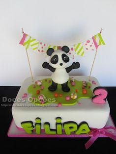 Doces Opções: Bolo e Bolachas Panda para o 2º aniversário da Fil...