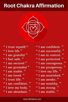 50 Powerful Root Chakra Affirmations to Fast Healing & Chakra affirmationsYou can find Chakra meditation and more on our Powerf. Chakra Heilung, Chakra Raiz, Chakra Mantra, Muladhara Chakra, Chakra Symbols, Chakra Crystals, Crown Chakra, Atem Meditation, Healing Meditation