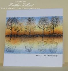 Autumn Reflections - Heather  masked and sponged most of this card, Then added some details at the water's edge with a marker. Mirror image trick from Michelle Zindorf - stamp the trees on the Stamp-a-ma-jig sheet and then press them onto the card.