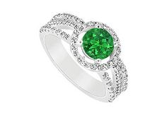 Beautiful Emerald and Diamond Engagement Ring