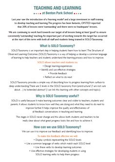 SOLO Taxonomy parent information