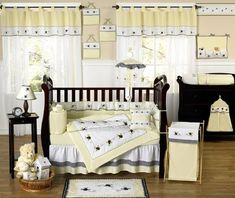 Designer Yellow Bumble Bee Baby Boy or Girl Unisex Neutral Bedding Crib Set by Sweet Jojo Designs Baby Crib Sets, Crib Bedding Sets, Nursery Bedding, Baby Cribs, Baby Bedding, Neutral Bedding, Nursery Neutral, Bumble Bee Nursery, Best Crib