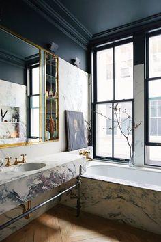 Breccia Capraia marble clad tub & vanity with bronze legs