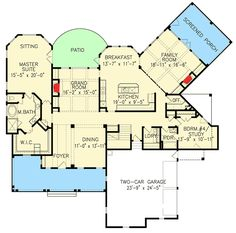 Rustic Farmhouse House Plan - 25619GE floor plan - Main Level