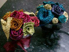 Table Arrangements & Centrepieces-Fabulous Flax Flower Bouquets and Arrangements Table Arrangements, Centrepieces, Flax Weaving, Flax Flowers, Fabric Roses, Flower Bouquets, Decoration, Bear, Pink