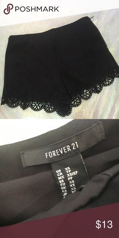 F21 Faux Suede Laser Flower Shorts 🌸FOREVER 21 Faux Suede Flower Shorts🌸 🔹 Laser flower cut outs on bottom 🔹 NWOT 🔹 Black faux suede  🔹Zipper up the side They run larger on me Forever 21 Shorts