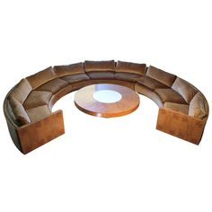 Vintage Milo Baughman Burled Curve Circle Sofa and Coffee Table 1