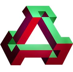 T R I A N G U L A R impossible triangle illusion shaped like letter A