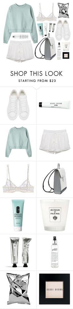 """""""Perla Flutter"""" by sophiehackett ❤ liked on Polyvore featuring Alexander McQueen, Bobbi Brown Cosmetics, Kendall + Kylie, La Perla, Clinique, Acqua di Parma, philosophy, Anya Hindmarch, Davines and women's clothing"""