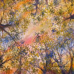 Oil painting looking up through trees - colors are great!