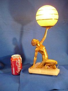 ART Deco 1930 Semi Nude Lamp Girl Statue Sculpture Lorenzl Original | eBay