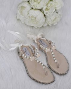 e9e3efbad Pearl Wedding Sandals - T-Strap BEIGE Pearl with Rhinestones flat sandal  with satin ankle strap - Women   Girls Flat Sandals