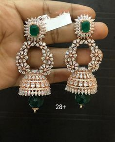 bridal jewelry for the radiant bride Diamond Earrings Indian, Indian Jewelry Earrings, Jewelry Design Earrings, Indian Wedding Jewelry, Gold Earrings Designs, Gold Jewellery Design, Bridal Jewelry, Silver Jewelry, Diamond Jewelry