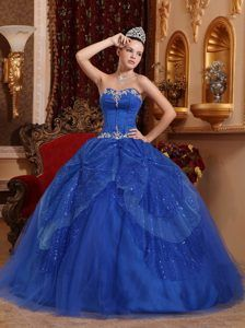 Blue Ball Gown Sweetheart Quinceanera Dress with Beading and Appliques