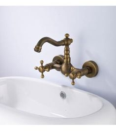 Double Handle Wall Mount Kitchen Faucet In Antique Brass 5679F-Wholesale Faucet