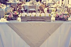 Flowers in crates; burlap and lace