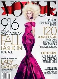 Vogue US September 2012 cover / Starring Lady Gaga / Shot by Mert and Marcus / Styling by Grace Coddington, Wearing Marc Jacobs / Vogue Covers, Vogue Magazine Covers, Lady Gaga, Fashion Cover, Star Fashion, Vogue Fashion, High Fashion, Fashion Art, Katy Perry