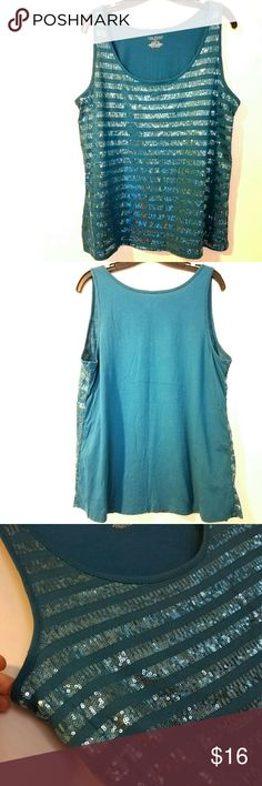 """Lane Bryant 14/16 Teal Blue Mermaid Sequined Tank This Lane Bryant 14/16 Teal Blue Mermaid Sequined Tank is in great used condition. Like new! Bust measures 20.5"""" across laying flat, measured from pit to pit, so 41"""" around unstretched. Stretchy. 27"""" long. ::: Bundle and save! ::: No trades. Lane Bryant Tops Tank Tops"""