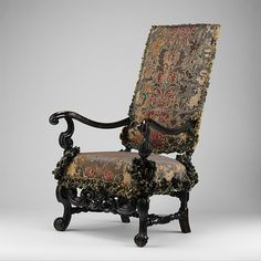 Armchair, Maker: Attributed to Thomas Roberts (active 1685–1714) Date: ca. 1700 Culture: British Medium: Ebonized beechwood, original Genoese velvet covers.