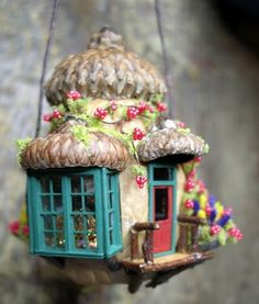 Adorable tiny house ornament - walnut shell with acorn caps - mini windows - this would make a wonderful Christmas ornament to remembrance fairy garden-making during the year **************************************** Kilmouski & Me #miniature #fairy #house #ornament