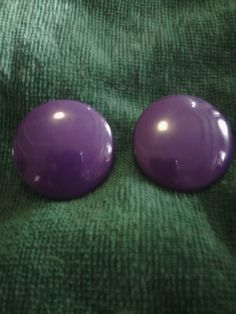 Purple Large Button Earrings by HandMVintageShoppe on Etsy