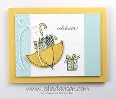 Julie's Stamping Spot -- Stampin' Up! Project Ideas by Julie Davison: Umbrella Weather: Baby or Wedding Shower Card Wedding Shower Banners, Bridal Shower Cards, Baby Shower Cards, Baby Cards, Wedding Anniversary Cards, Wedding Cards, Happy Anniversary, Weather Cards, Umbrella Cards