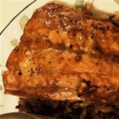 Delicious Salmon Allrecipes.com  This was so yummy and easy! And I'm not a fan of fish. I also added some orange juice to this to thin out the marinade a little. YUM!
