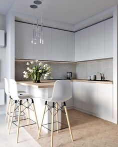 45 Inspiring Modern Scandinavian Kitchen Design Ideas Home Design Ideas Kitchen Room Design, Luxury Kitchen Design, Kitchen Layout, Home Decor Kitchen, Interior Design Kitchen, Home Design, Home Kitchens, Kitchen Ideas, Kitchen Designs