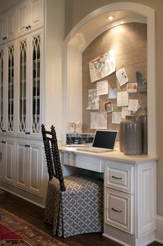 Kitchen office love the bulletin board. Julie Couch bedrooms design office de casas design and decoration Home Office, Office Nook, Office Decor, Small Office, Mini Office, Office Spaces, Kid Spaces, Kitchen Desks, Kitchen Office