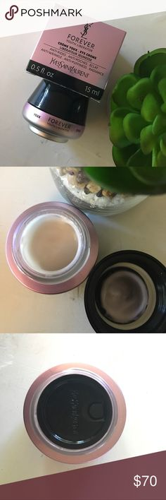 YSL forever youth eye cream. Comes with box.  I have not used this product.  The only damage is to the box bottom of the box.  As shown in photos.  I did open the product to photograph but i have not put my fingers in it. Yves Saint Laurent Makeup