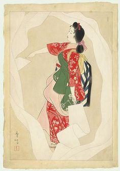 「晒女」 昭和11年(1936) 山川秀峰