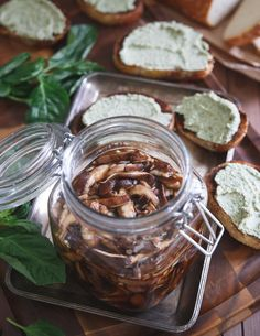 Balsamic Pickled Shiitake Mushrooms are a tangy bite perfect on top of some toasted bread.