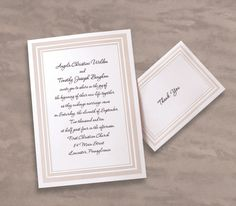 Triple Beveled Elegance Wedding Invitations by TheAmericanWedding.com