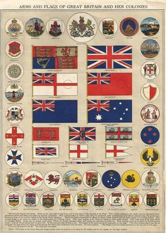 Flag sheet of the flags of Great Britian and her colonies.