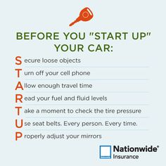 "Teen driving tips Things to check before you ""Start Up"" your car. Driving Teen, Driving Safety, Driving School, Driving Rules, Drivers Permit, Drivers Ed, Driving Test Tips, Learning To Drive Tips, Road Safety Tips"