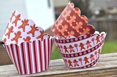 Items similar to Gingerbread Christmas Cupcake Wrappers in Pink and Brown on Etsy Cupcake Liners, Cupcake Wrappers, Christmas Cupcakes, Gingerbread, Wraps, Presents, Cold, Unique Jewelry, Handmade Gifts
