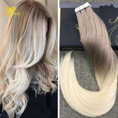 7A Ombre Dark Ash Blonde to Bleach Blonde Remy PU Tape in Human Hair Extensions #Ugea