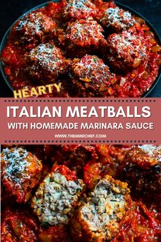 These Italian meatballs with a homemade marinara sauce is the perfect way to fancify a simple spaghetti and meatballs. These classic Italian meatballs are light, fluffy, and moist and paired with a simple and bright tomato sauce. Eat them the Italian way, with toasted bread, or with some spaghetti! #meatballs #italian #marinara #tomato #easyrecipe #easydinner #healthy Sauce Recipes, Meat Recipes, Healthy Recipes, Meatball Recipes, Marinara Sauce, Tomato Sauce, Easy Appetizer Recipes, Dinner Recipes, Pinterest Recipes