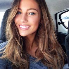 nice makeup Mathilde Geohler, Ash brown hair, blue eyes …