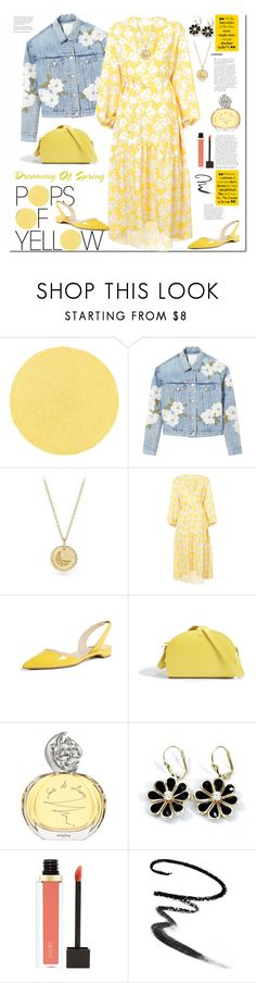 """Get Happy: Pops of Yellow"" by ellie366 ❤ liked on Polyvore featuring Rebecca Taylor, David Yurman, Borgo De Nor, Paul Andrew, A.P.C., Sisley, Jouer, Maybelline, denimjacket and floraldresses"