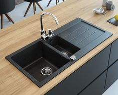 Granite composite drop in double bowl kitchen sink with drainboard Lavello Luxor - Lavello Sinks - Double bowl, drop-in granite sink with drainboard Luxor – Lavello Sinks - Black Granite Sink, Granite Kitchen Sinks, Kitchen Sink Design, Black Sink, Modern Kitchen Design, Modern Design, Granite Composite Sinks, Composite Kitchen Sinks, Kitchen Buffet