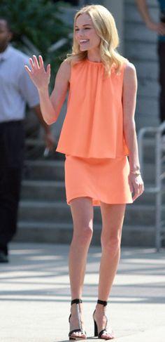 Kate Bosworth in a Christopher Kane tangerine dress.