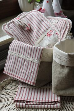 lace trimmed kitchen towels, potholders, & a burlap diy container - shabby chic