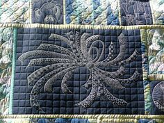 """This week saw me complete the quilt that I spent quite some time Standing & Staring. The whole quilt was SID'd, the """"clamshells"""" on the bloc..."""