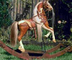 I just love those beautiful antique style rocking horses with the real horsehair manes and tales. This article includes many examples of some of the most beautiful rocking horses I found. Wood Rocking Horse, Antique Rocking Horse, Wooden Horse, Vintage Horse, Deco Originale, Carousel Horses, Equine Art, Pretty Horses, Horse Art