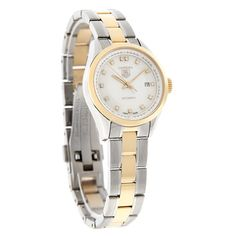 NEW TAG HEUER LADIES CARRERA SERIES SWISS AUTOMATIC WATCH   - Polished Stainless Steel & Gold Tone Case and Bracelet - Mother of Pearl Dial - Gold Tone Luminous Hour & Minute Hands - Genuine Diamond Hour Markers - Date Display at 3:00 Position - Sapphire Crystal - Water Resistant to 50 Meters - Screw Down Crown - Fold Over Safety Snap Clasp - Swiss Automatic Movement Tag Heuer, Carrera, Swiss Automatic Watches, Women's Dress Watches, Lady, Bracelet Watch, Sapphire, Safety, Graduation