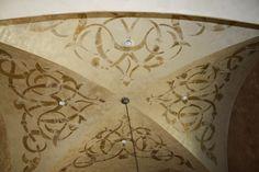 groin ceiling in dining room, gold leaf custom  modello.Giovannetti Decorative Studio