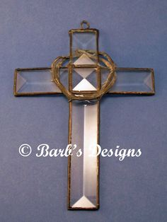 Stained Glass Cross With Crown of Thorns Using by BarbsDesigns