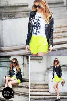 Isabella of The Pile of Style in our cute neon shorts!