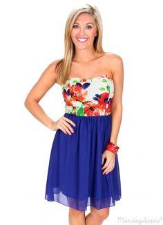 Even Flow Royal Blue Floral Dress | Monday Dress Boutique
